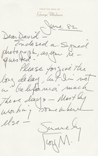 GEORGE MAHARIS - AUTOGRAPH LETTER SIGNED 06/1982