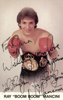 RAY BOOM BOOM MANCINI - INSCRIBED PICTURE POSTCARD SIGNED
