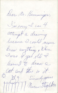 MAUREEN STAPLETON - AUTOGRAPH LETTER SIGNED WITH ORIGINAL ART