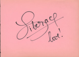 LIBERACE - AUTOGRAPH SENTIMENT SIGNED