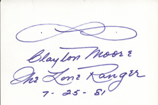 CLAYTON THE LONE RANGER MOORE - AUTOGRAPH 07/25/1981