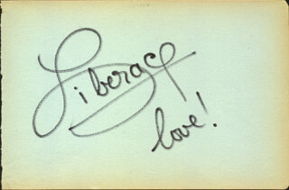 LIBERACE - AUTOGRAPH SENTIMENT SIGNED CO-SIGNED BY: SHAW TAYLOR
