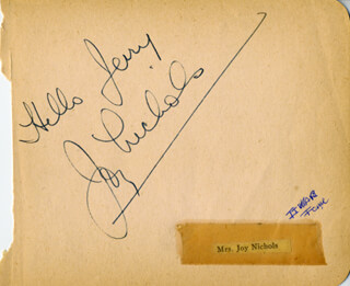 JOY NICHOLS - INSCRIBED SIGNATURE