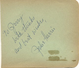 JULIE HARRIS - AUTOGRAPH NOTE SIGNED