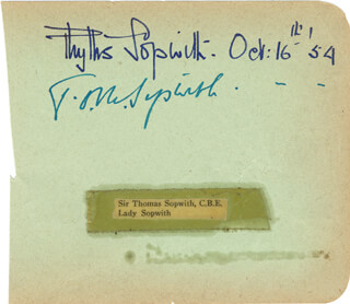 THOMAS O. M. SOPWITH - AUTOGRAPH 10/16/1954 CO-SIGNED BY: PHYLLIS SOPWITH