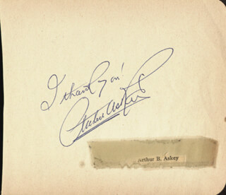 ARTHUR ASKEY - AUTOGRAPH SENTIMENT SIGNED