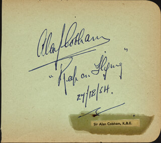 Autographs: SIR ALAN J. COBHAM - AUTOGRAPH QUOTATION SIGNED 12/27/1954