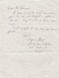 VIRGINIA MAYO - AUTOGRAPH LETTER SIGNED