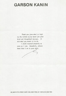 GARSON KANIN - TYPED NOTE SIGNED