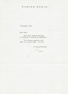 GARSON KANIN - TYPED LETTER SIGNED 11/05/1985
