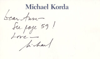 MICHAEL KORDA - AUTOGRAPH NOTE SIGNED