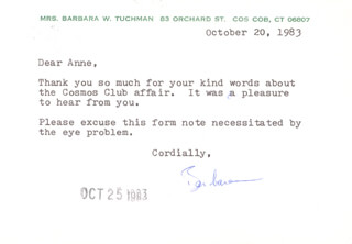 BARBARA W. TUCHMAN - TYPED LETTER SIGNED 10/20/1983
