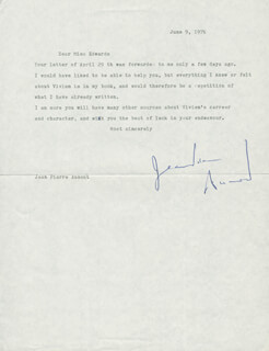 JEAN-PIERRE AUMONT - TYPED LETTER SIGNED 06/09/1976