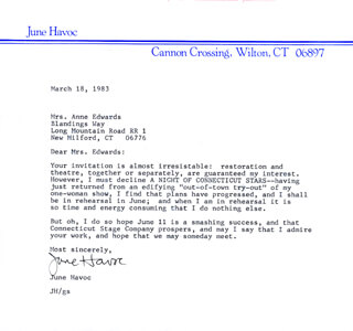 JUNE HAVOC - TYPED LETTER SIGNED 03/18/1983