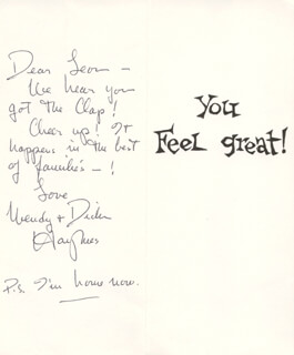 Autographs: DICK HAYMES - GREETING CARD SIGNED