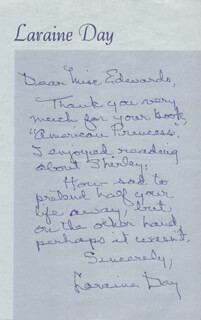 LARAINE DAY - AUTOGRAPH LETTER SIGNED
