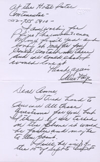 ALICE FAYE - AUTOGRAPH LETTER SIGNED 9/1987