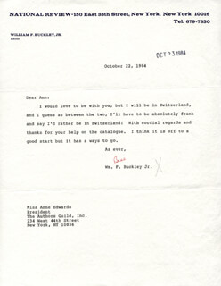 WILLIAM F. BUCKLEY JR. - TYPED LETTER SIGNED 10/22/1984