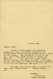 JEROME JERRY LAWRENCE - TYPED LETTER SIGNED 03/01/1986