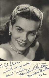 MILDRED MILLER - AUTOGRAPHED INSCRIBED PHOTOGRAPH CIRCA 1952