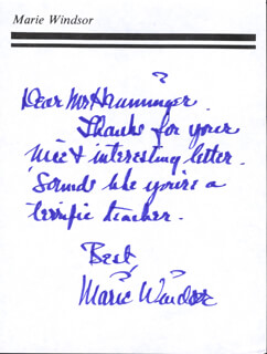 MARIE WINDSOR - AUTOGRAPH LETTER SIGNED