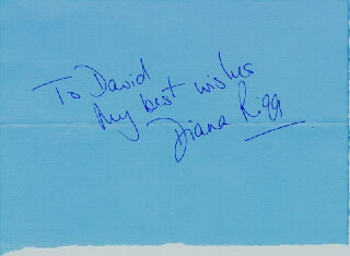DIANA RIGG - AUTOGRAPH NOTE SIGNED