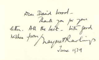 MARGARET RAWLINGS - AUTOGRAPH NOTE SIGNED 06/1979