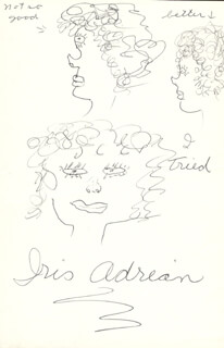 Autographs: IRIS ADRIAN - SELF-CARICATURE SIGNED