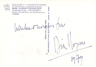 DIRK BOGARDE - INSCRIBED PICTURE POSTCARD SIGNED 1979
