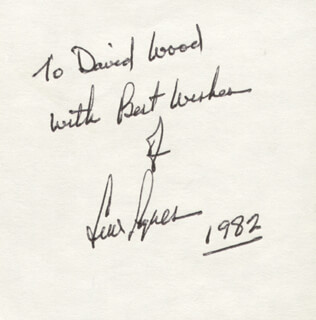 LEW AYRES - AUTOGRAPH NOTE SIGNED 1982