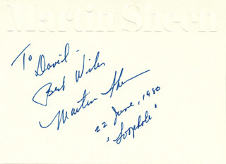 MARTIN SHEEN - AUTOGRAPH NOTE SIGNED 06/22/1980