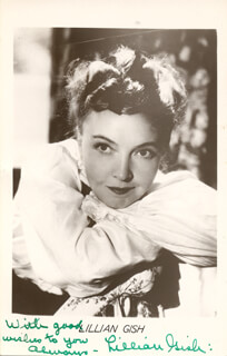 LILLIAN GISH - PICTURE POST CARD SIGNED