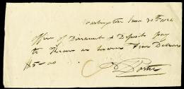 Autographs: COMMODORE DAVID PORTER - AUTOGRAPH CHECK SIGNED 06/30/1824