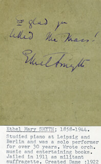 Autographs: DAME ETHEL MARY SMYTH - POSTER SIGNED