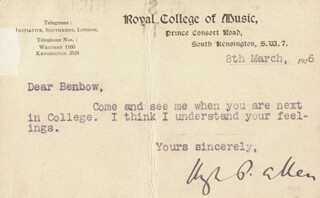 SIR HUGH PERCY ALLEN - TYPED NOTE SIGNED 03/08/1926