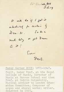 PERCY CARTER BUCK - AUTOGRAPH NOTE SIGNED 12/17/1944