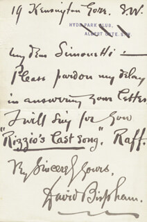 DAVID SCULL BISPHAM - AUTOGRAPH LETTER SIGNED