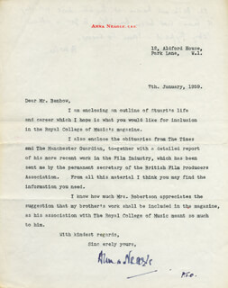 ANNA NEAGLE - TYPED LETTER SIGNED 01/07/1959