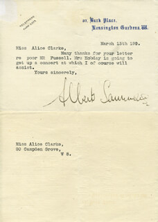 ALBERT EDWARD SAMMONS - TYPED LETTER SIGNED 3/13/19??