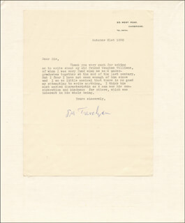 SIR GEORGE M. TREVELYAN - TYPED LETTER SIGNED 10/21/1958