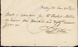 Autographs: COMMODORE DAVID PORTER - AUTOGRAPH CHECK SIGNED 06/21/1820