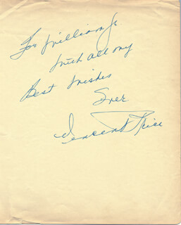 VINCENT PRICE - AUTOGRAPH NOTE SIGNED