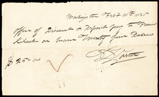 Autographs: COMMODORE DAVID PORTER - AUTOGRAPH CHECK SIGNED 02/18/1826