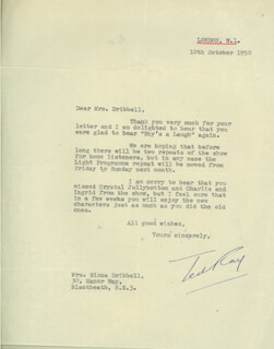 TED RAY - TYPED LETTER SIGNED 10/10/1950