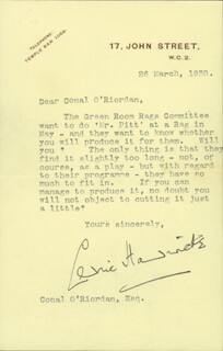 SIR CEDRIC HARDWICKE - TYPED LETTER SIGNED 03/26/1930 CO-SIGNED BY: CONAL (F. NORRIS CONNAL) O'RIORDAN