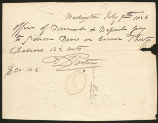 Autographs: COMMODORE DAVID PORTER - AUTOGRAPH CHECK SIGNED 07/07/1824