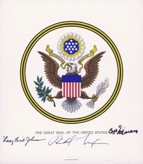 PRESIDENT RICHARD M. NIXON - PRINTED ART SIGNED IN INK CO-SIGNED BY: FIRST LADY LADY BIRD JOHNSON, FIRST LADY BESS W. TRUMAN