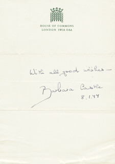 BARBARA (BARONESS CASTLE OF BLACKBURN) CASTLE - AUTOGRAPH SENTIMENT SIGNED 01/08/1977