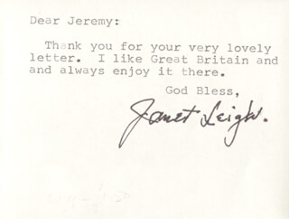 JANET LEIGH - TYPED NOTE ON PHOTOGRAPH SIGNED