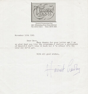 HARRIET CRAWLEY - TYPED LETTER SIGNED 11/10/1981